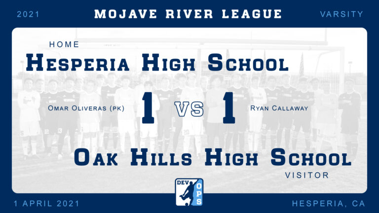 GAME ANALYSIS of VIDEO: Boys Varsity Soccer: Hesperia (1) vs Oak Hills (1) – April 1
